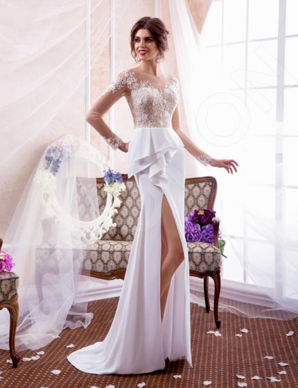 Baruna Luxury Satin Wedding dress White / Powder pink   Devotiondresses.com