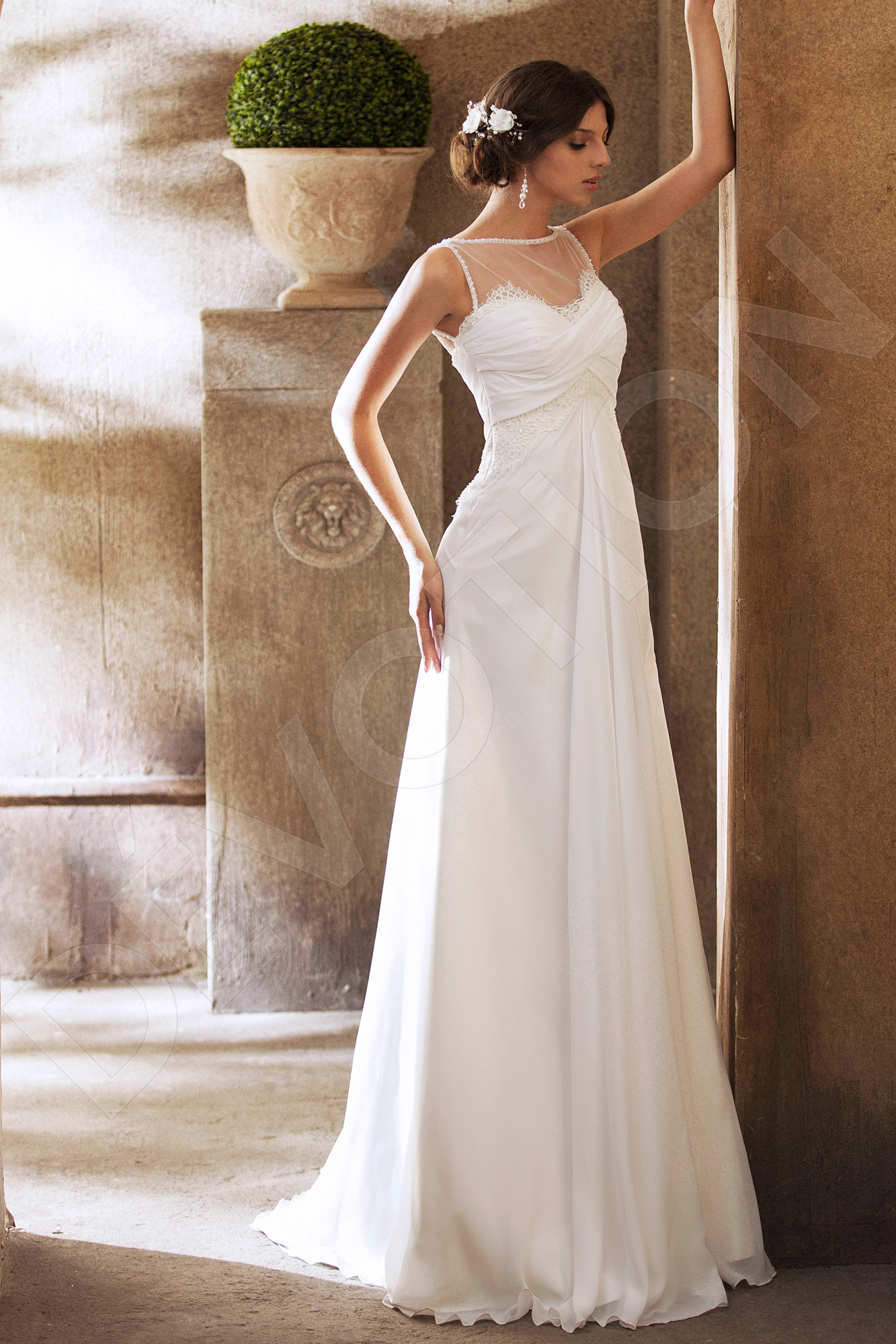 Ariana Elegant Chiffon Wedding dress White | Devotiondresses.com