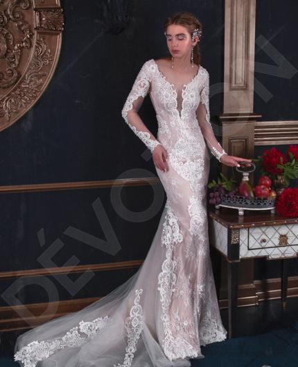 Verania Luxury Guipure Wedding dress Powder   Devotiondresses.com