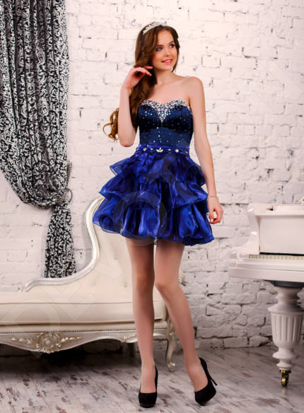 Esuana Modern Satin Evening dress Blue | Devotiondresses.com