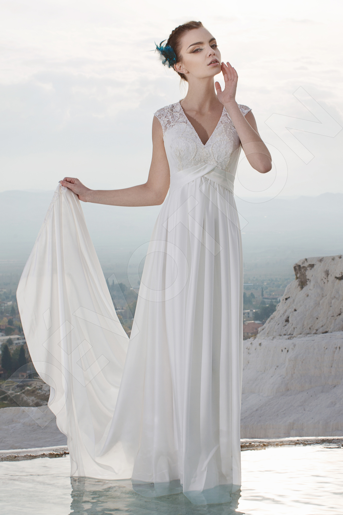 Lamaria Elegant Silk Wedding dress Milk | Devotiondresses.com
